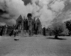Danvers State Hospital Kirkbride Asylum Infrared Black and White Photograph. #danversstatehospital