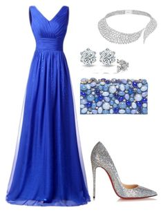 A fashion look from November 2016 featuring blue prom dresses, pointy-toe pumps and blue purse. Browse and shop related looks. Prom Dresses Blue, Strapless Dress Formal, Evening Dresses, Formal Dresses, Pear Body, Blue Purse, Body Shapes, Prada, Christian Louboutin