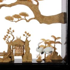 Palace & Swan Cork Carving - OrientalFurniture.com