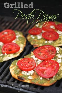 We make this all the time in the summer. It is so good with fresh sweet tomatoes from the garden. #grilledpizza #pestopizzarecipe #pestopizza