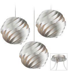 Over kitchen island pendant lighting - Possini Euro Silver Waves Triple Light Swag Chandelier