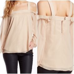 """SALE  """" Host Pick """" Beautiful Blouse  Beautiful """" Isabella Blouse """" !! Color is Taupe ! Square neck ! Open shoulder ! Long sheer sleeves with button cuffs ! Lined ! 100% polyester ! Keyhole button closure ! Approximately 25.5 in length ! Soft and flowing ! Gorgeous !  Va Va by Joy Han  Tops"""