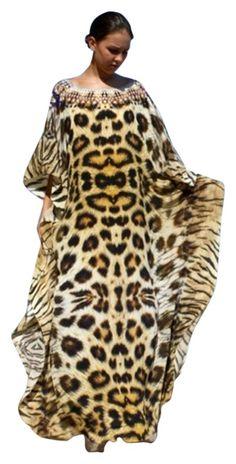 Tiger Leopard. Kaftan Fur Necklace. Embellishment. Maxi Dress. Free shipping and guaranteed authenticity on Tiger Leopard. Kaftan Fur Necklace. Embellishment. Maxi Dress at Tradesy. Somptuous silk kaftan revealing a majestic leopard...