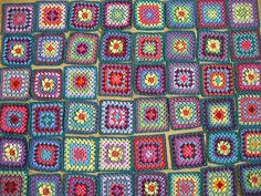 Assorted Granny Squares, showing the multitude of colourways  that are possible.