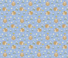 Hedgehogs in daisy field fabric by macywong on Spoonflower - custom fabric