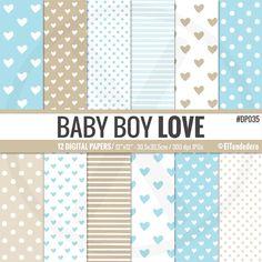 Papeles digitales con corazones baby boy love por eltendedero