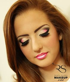 Pink and Black Cut Crease Look....like the lips where it looks like 2 or 3 colors have been used.... #pinkcutcrease