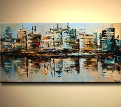 Original abstract art paintings by Osnat - city buildings reflected in water