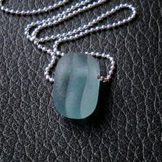 Seaglass Jewelry - blue grey English seaglass multi necklace