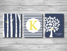 Wall Art Print - Tree Wedding Marriage Gift Couple Name Date Birds Monogram Stripes Birch Trees Personalized Navy Blue Yellow 8 x 10