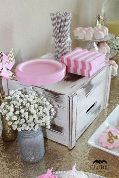 Pretty sparkle first birthday party! See more party ideas at CatchMyParty.com!