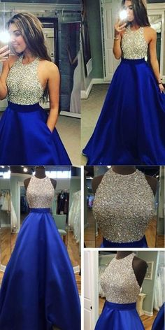 Sexy High Neck Cross Back Long Satin Prom Dress Long Royal Blue Evening Gowns With Beaded Bodice for Teens
