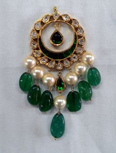 An elegant combination of pearls, green and gold | Kundan Meena Earrings