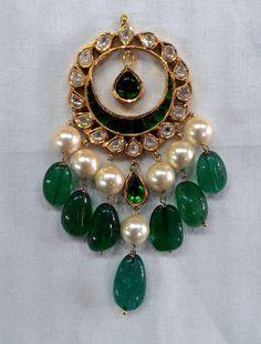 An elegant combination of pearls, green and gold | Kundan Meena Earrings