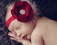 Christmas baby Headband baby headbandsBaby by ThinkPinkBows Baby Flower Headbands, Cute Headbands, Baby Bows, White Headband, Diy Headband, Rose Headband, Baby Girl Hair, Girls Hair Accessories, Christmas Baby