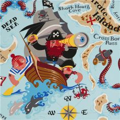 blue Alexander Henry pirate fabric Pirate Island