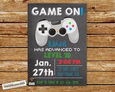 Video Game Invitation, Video Game Birthday, Gaming Birthday Party, Play Station Party, Laser Tag Birthday Party, Game On Birthday Party Invitation #videogameparty #videogames #gamingparty