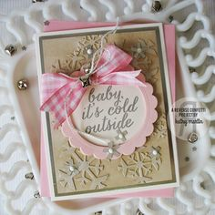 Card-Blanc by Kathy Martin. Reverse Confetti stamp set: Seasonal Sentiments. Confetti Cuts: Let It Snow and Circles 'n Scallops. Anniversary card. Valentine's card. Christmas card.