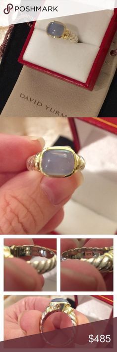 """David Yurman Blue Chalcedony Noblesse Ring 14k Blue chalcedony Noblesse ring in 14k yellow gold and sterling silver. Polished and in """"like new"""" condition. Size 5. Comes with Yurman pouch and polishing cloth. Offers through button please. No trades. David Yurman Jewelry Rings"""