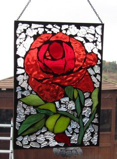 Red Rose  Stained Glass SunCatcher or wall by HildeMosaics on Etsy, $30.00