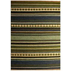Hand-woven Mohawk Blue/ Green Stripe Jute Rug (6' x 9') | Overstock.com Shopping - Great Deals on 5x8 - 6x9 Rugs