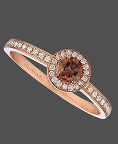 Rose gold and chocolate diamond ring.but would have to be white gold! Chocolate Rings, Chocolate Diamond Rings, White Diamond Ring, White Diamonds, Antique Engagement Rings, Halo Engagement, Beautiful Rings, Diamond Jewelry, Wedding Rings