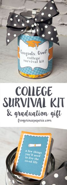 High school Grads need this - a College Survival Kit. Get the printable and instructions for this DIY Graduation Gift when you click through!