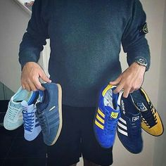 Footie lad shows off some of his favourite match day trainers