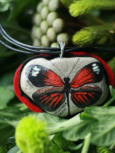 Stone necklace with a handpainted Heliconius Erato by SkadiaArt,
