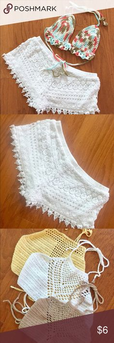"""🆓Crochet Shorts with Purchase of Select 👙Tops White summer 🌊 shorts for sale or ✨🆓✨ with crochet top purchase. See pics and separate listings in my closet for eligible tops 🛍 BUNDLE this shorts item WITH ELIGIBLE TOP 👙 and I will send you the offer 💰Shorts H&M, size label removed; approx measurements: WAIST 13"""" 