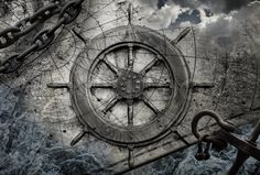 Vintage navigation background illustration with steering wheel ...