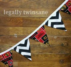 Fabric bunting banner Chicago Blackhawks hockey party nursery  dorm picnic shower  birthday