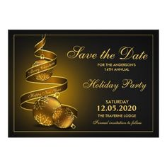 Elegant Holiday Party Save The Date 5x7 Paper Invitation Card