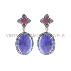 Oval Shape Blue Sapphire Pave Diamond Party Wear 14k Yellow Gold Sterling Silver Round Ruby Dangle Earrings Women Gift Jewelry VDEH-0148 by VintageDiamondJewels on Etsy