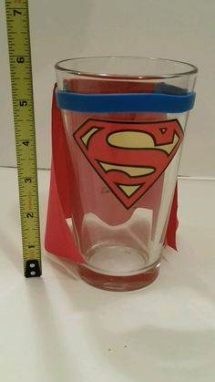 Unique Superman pint with fabric red cape glass tavern bar glassware