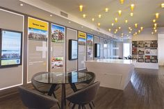 Minto Orchard Park Sales Centre — ©PM Design and Marketing Showroom Design, Office Interior Design, Office Interiors, Office Wall Graphics, Church Lobby, Sales Center, Leasing Office, Real Estate Office, Sales Office
