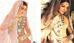 Aishwaria Rai illustration in umrao jaan