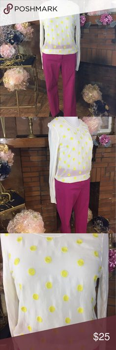 Ann Taylor Loft magenta cropped trouser Ann Taylor Loft magenta cropped trouser size 12. Approx measurements are 34 inch waist and 25 inch inseam.  55% cotton, 38% rayon and 7% spandex. Downeast sheer front light weight sweater with yellow polka dots size M. Approx measurements are 42 inch circumference and 25 inches long. Front is 100% polyester and back is 100% rayon. Previously owned but in good condition free of stains and defects. Ann Taylor Pants Ankle & Cropped