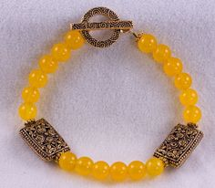 Yellow Jade and Ornate Antique Gold Color by CatherineTreasureBox, $19.95