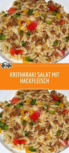 Kritharaki salad with minced meat - the kitchen Crockpot Chicken Healthy, Healthy Crockpot Recipes, Healthy Eating Recipes, Easy Chicken Recipes, Clean Eating Vegetarian, Clean Eating Chicken, Eating Clean, Quick Dinner Recipes, Low Carb