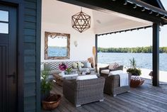 This rustic modern lake house was designed by Anne Hepfer Designs, located along Lake Joseph, in Seguin Township, Ontario, Canada. Rustic Chic Decor, Rustic Elegance, Modern Rustic, Outdoor Rooms, Outdoor Living, Outdoor Furniture Sets, Ontario Cottages, Modern Lake House, Lake Dock