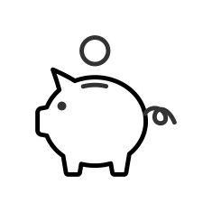 Piggy Bank outline icon vector art illustration