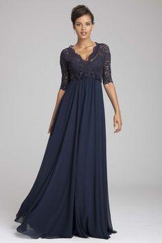 Navy Lace & Chiffon Gown   Teri Jon
