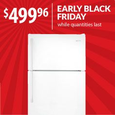 Wouldn't you love an extra fridge? (think Thanksgiving leftovers, people!) Don't wait for a turkey hangover. Warners' Stellian's got Black Friday pricing like this Frigidaire white refrigerator starting now! Model: NFTR18X4LW