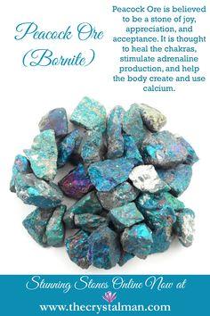 Peacock Ore/Bornite ~ Joy-Appreciation-Acceptance-Chakras-Adrenaline-Calcium Shop new bulk stones online now at The Crystal Man!