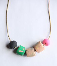 Patti  Polymer Clay Bead Marbled Pink Green Necklace by jjjasbo #etsy #clay