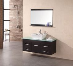 """48"""" Madrid (DEC1100A) Wall-Mount Single Vessel Sink Vanity #BathroomRemodel #BlondyBathHome #BathroomVanity  #ModernVanity"""