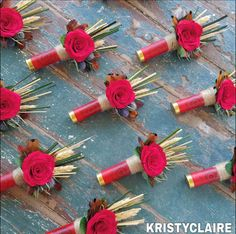 Wildflower Shot Gun Shell Boutonniere by KRISTYCLAIRE on Etsy www.kristyclaire.com  www.kristyclaire.etsy.com  #wedding #groom #groomsgift #usher #Boutonniere #Lapel #buttonhole #country #Countrychic #countrywedding #gunshell #shotgunshell #red #redroses #redshotgunshell #camouflage #camouflagewedding #wheat #thistle #rustic #rusticwedding #countrytheme