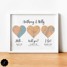 Wedding Anniversary Gift For Couple, Hello Will You I Do 3 Heart Map Print, First Anniversary Gift, Cotton Anniversary, Met Engaged Married Cotton Anniversary Gifts, Anniversary Gifts For Couples, Anniversary Ideas, Heart Map, Selling Handmade Items, Custom Map, Last Minute Gifts, Couple Gifts, Wedding Gifts