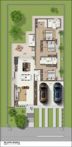 Planta Humanizada. Revit + Photoshop Family House Plans, Best House Plans, Dream House Plans, Small House Plans, House Floor Plans, 4 Bedroom House Designs, Cool House Designs, House Floor Design, House Construction Plan